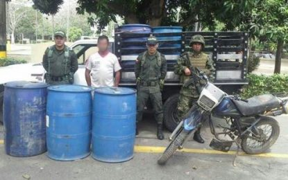 Ejército nacional incautó 133 galones de combustible de contrabando