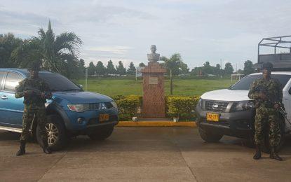 Ejército Nacional recupera vehículos hurtados en el municipio de Tame