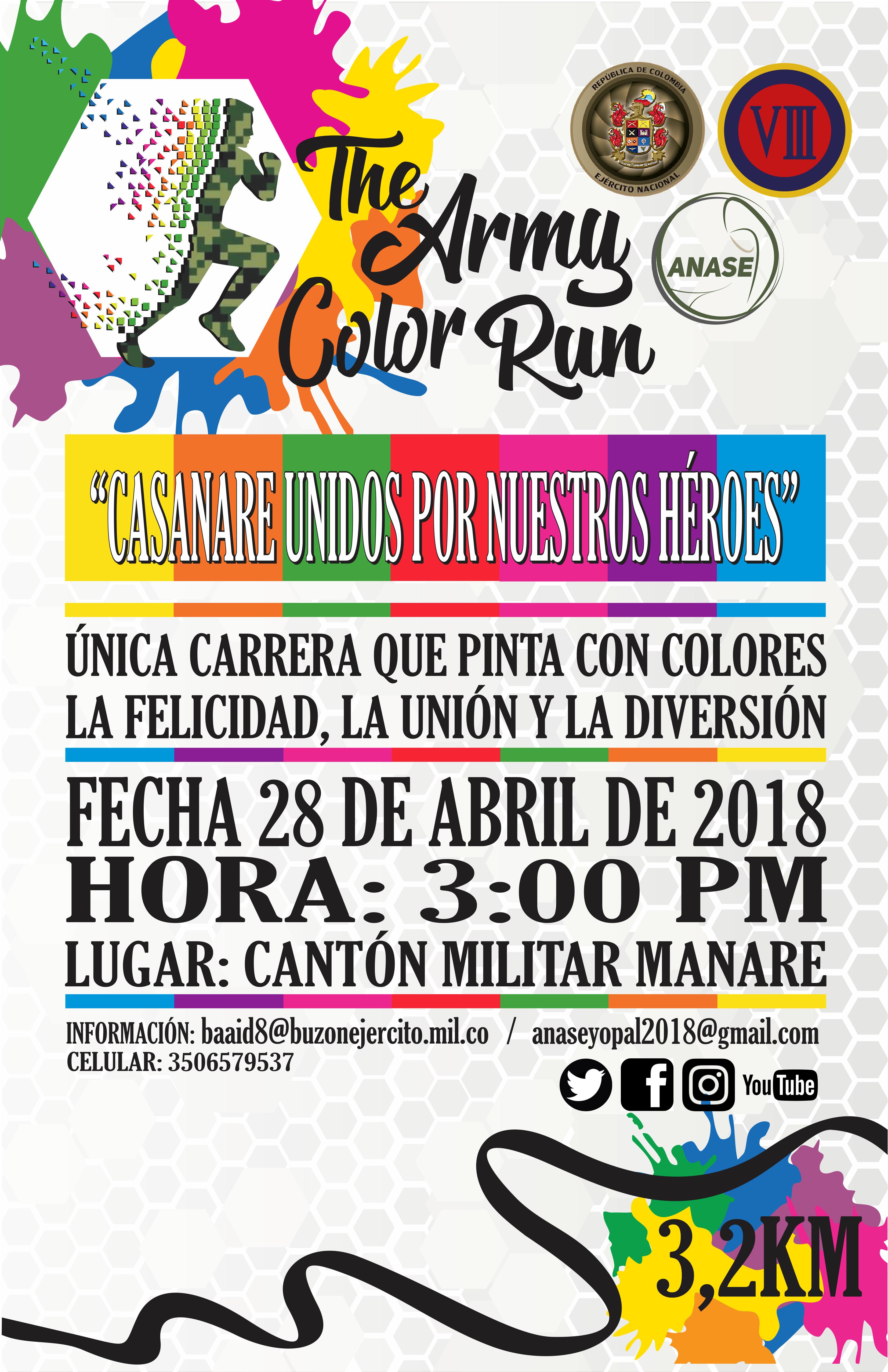 """Photo of La Octava División del Ejército realizará en Yopal """"The Army Color Run"""" este próximo 28 de abril"""