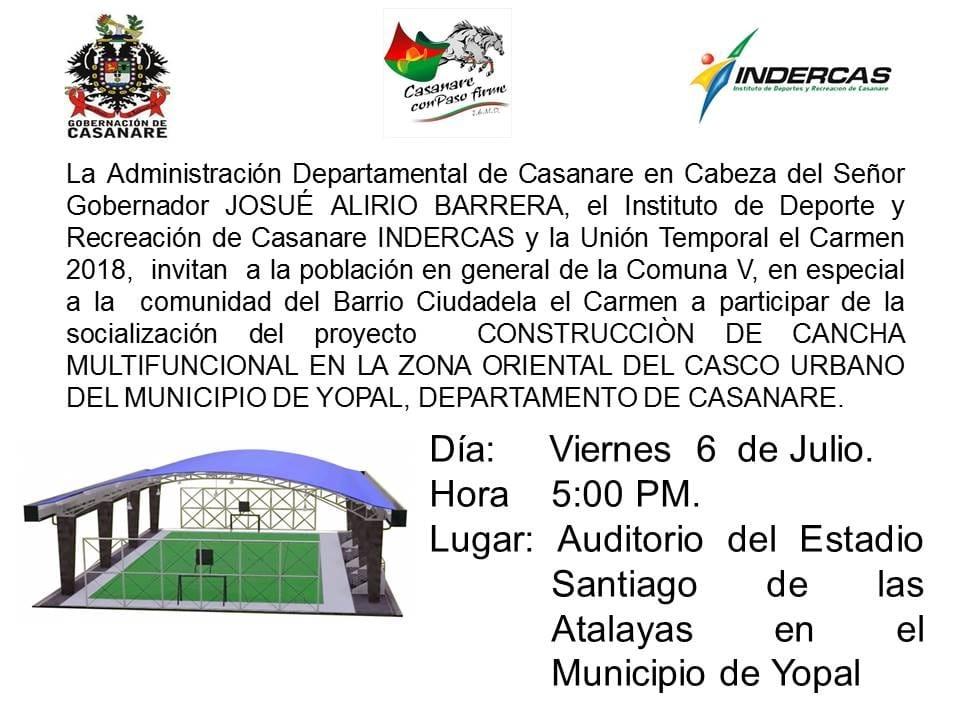 Photo of Gobernación de Casanare, socializará este viernes 06 de junio la construcción de la cancha multifuncional en zona oriental de Yopal