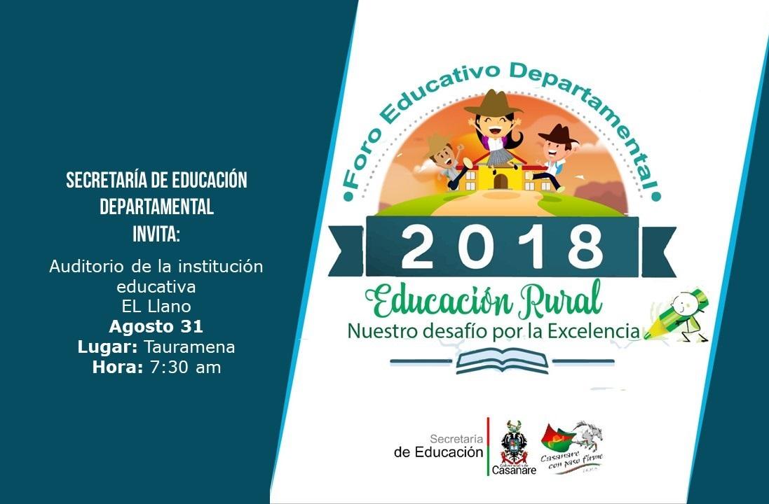 Photo of Foro Educativo departamental sobre Educación Rural, se llevará a cabo este 31 de agosto en Tauramena