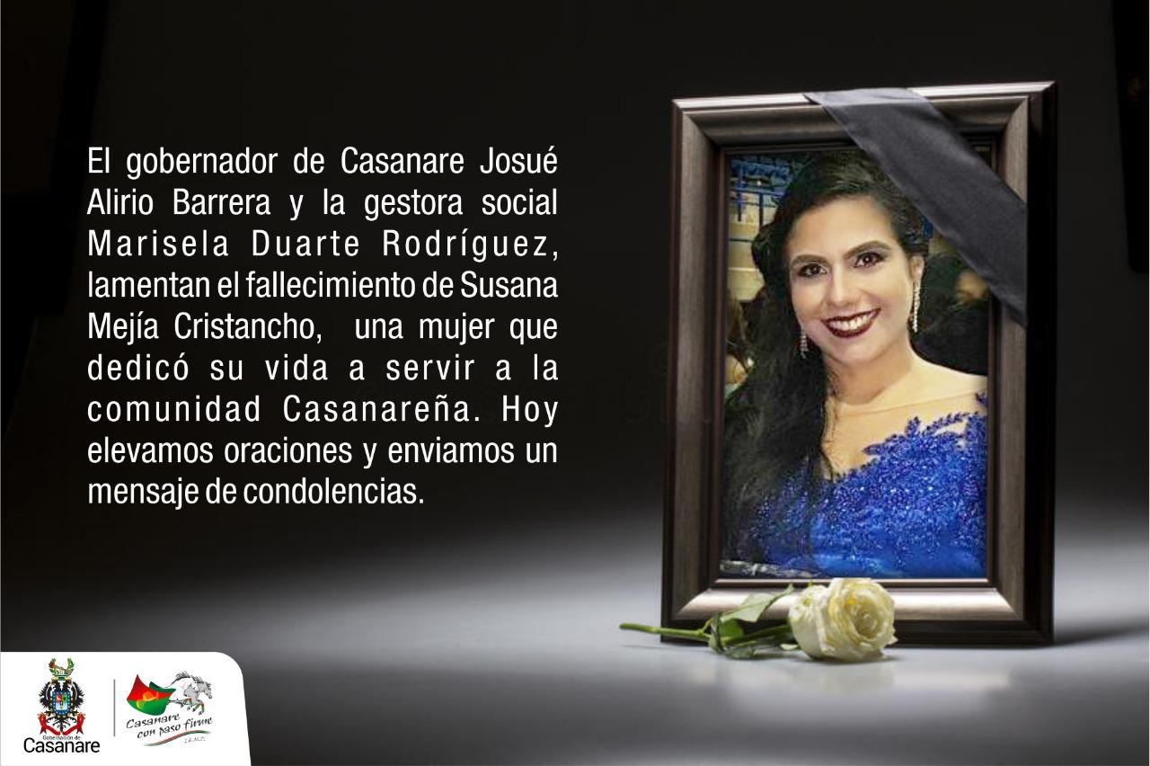 Photo of Administración departamental lamenta el fallecimiento de la médica Susana Mejía Cristancho
