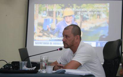 El secretario de Obras del Departamento entregó informe en la Asamblea del trabajo realizado