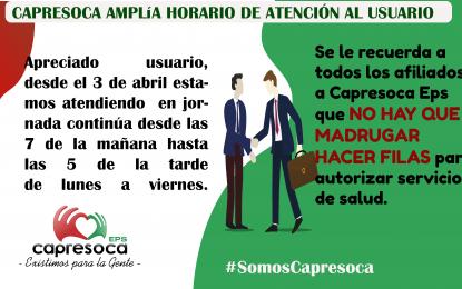 A partir del 3 de abril Capresoca EPS atenderá en jornada continua