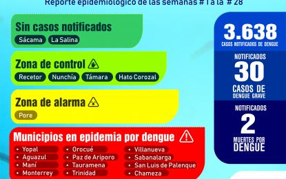 3.638 casos de dengue en Casanare a semana epidemiológica No 28