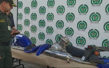 Polícia de Casanare recuperó partes de motocicleta