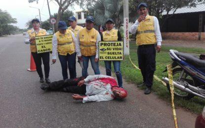 Con accidentes simulados, buscan sensibilizar en cultura vial a los Yopaleños