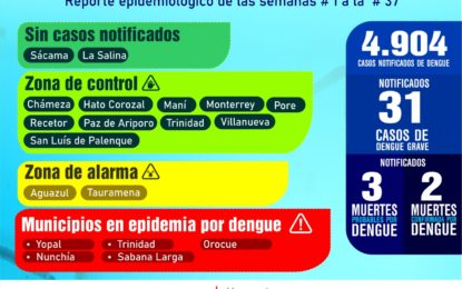 Reporte epidemiológico de dengue en Casanare arroja 4.904 casos