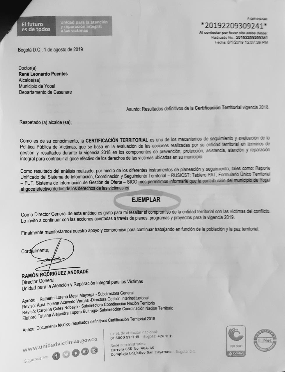 Photo of Yopal fue calificado como EJEMPLAR por la Unidad Nacional para la Atención y Reparación Integral para las Víctimas