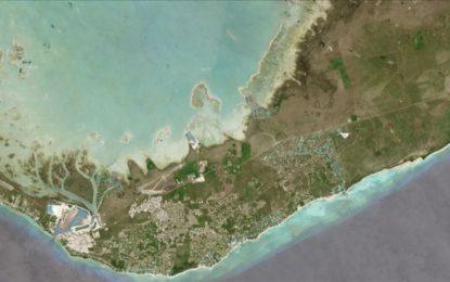 Esta imagen muestra que el 60% de la isla Gran Bahama está bajo el agua
