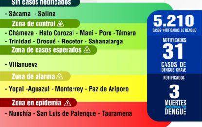 Reporte epidemiológico de dengue en Casanare