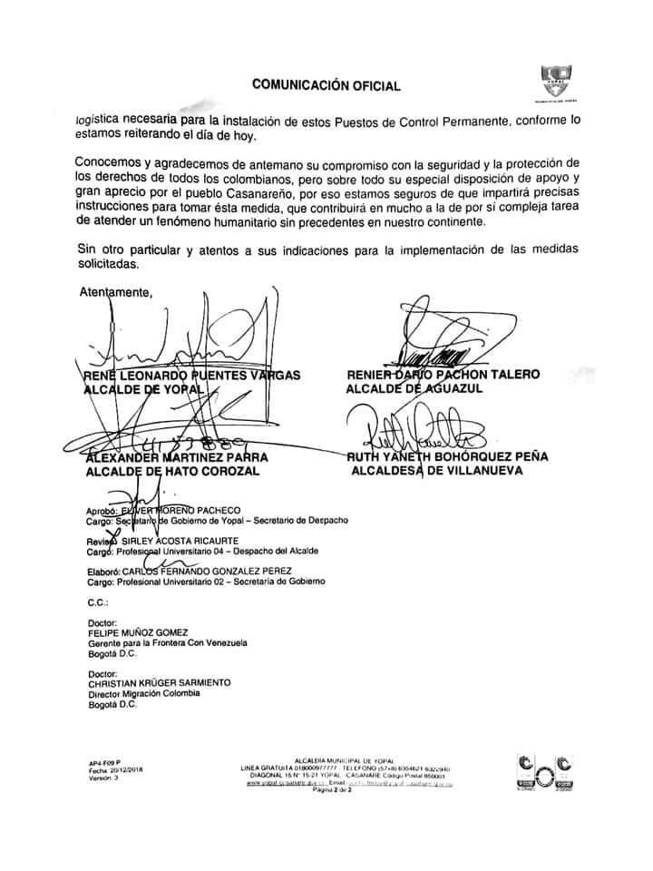 Photo of Instalar puestos de control migratorio solicitan alcaldes de Casanare al presidente Iván Duque