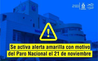Secretaría de Salud Departamental activó alerta amarilla con motivo del Paro Nacional el 21 de noviembre
