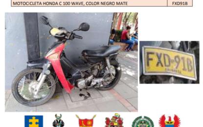 Conozca las placas de Motociclista que son utilizadas para hurtar en Yopal