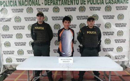 En Paz de Ariporo, hombre fue capturado con 25 gramos de cocaína