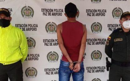 Policía captura presunto responsable de hurto de motocicleta en Paz de Ariporo