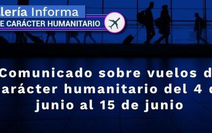 Más de 20 vuelos de carácter humanitario llegarán al país del 4 de junio al 15 de junio