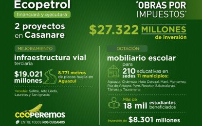 Ecopetrol realizará y ejecutará dos proyectos bajo modalidad de 'Obras por Impuestos' en Casanare