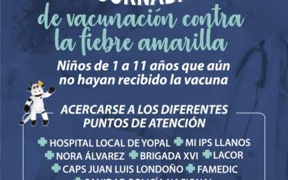 Gobierno municipal hace llamado a las familias para que asistan y tomen las recomendaciones para la jornada de vacunación contra la fiebre amarilla