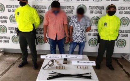 En allanamiento a residencia en Maní – Casanare, Policía Nacional captura a dos sujetos