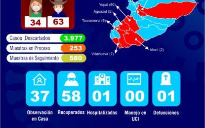 Se registran siete nuevos casos confirmados de COVID-19 en Casanare