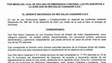 Photo of Declaran emergencia en el sur de Casanare por falta de médicos en IPS