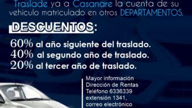 Photo of Acceda a descuentos en el valor del impuesto, traslandando la cuenta de matricula de su carro a Casanare